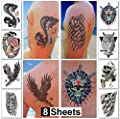 Temporary Tattoos for Guys for Men - Fake Tattoo, Biker Tattoos, Rocker Stickers for Arms Shoulders Chest & Back - Boys Tattoos Body Art Tattoo Sticker Waterproof Large Transfers 8 Sheets (Jupiter) from Sovereign-Gear