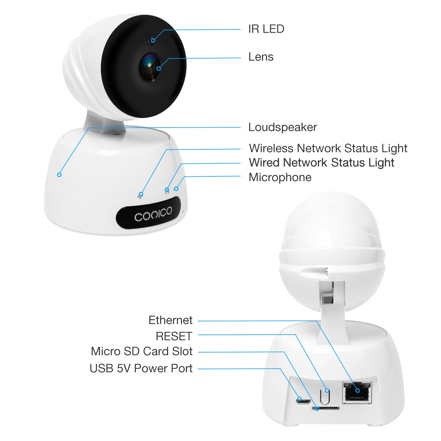 Video Baby Monitor, Conico 1080P Wireless WiFi Surveillance Camera Nanny Cam with Two Way Audio Night Vision Motion Detect Remote Viewing Pan Tilt Zoom for iPhone and Android by Conico (Image #2)