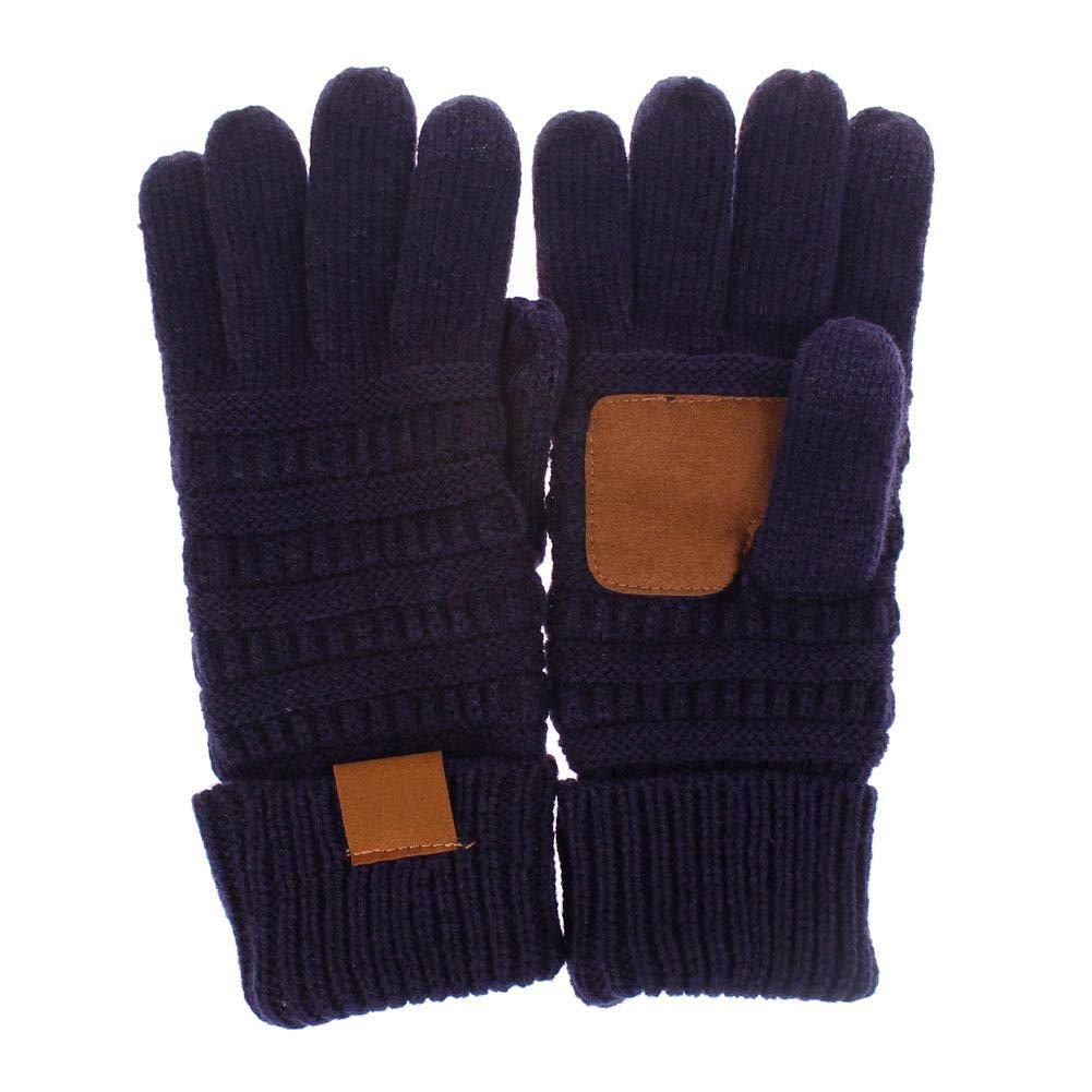 DRAULIC - Guantes de punto estilo europeo y americano con dedos completos para pantalla táctil