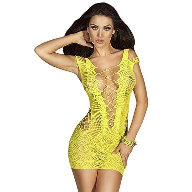 4d9d678ec023 INCHOICE Ropa Interior Rayada de Las Mujeres Mallas Mini Vestido Ropa de  Dormir Sexy Crochet Malla Hueco-hacia Fuera Mini Vestido Chemise Medias ...