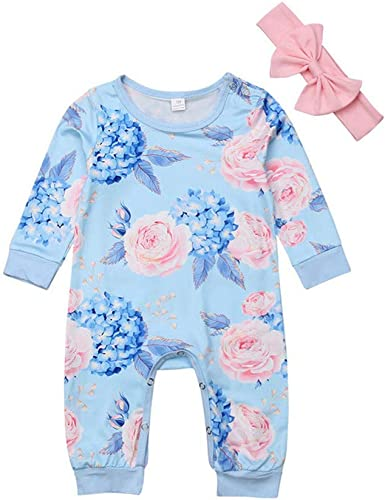 Floral Baby Girl Rompers//Jumpsuit//Bow-Knot Headband Outfits Ankola 2pcs Baby Girl Clothes Newborn