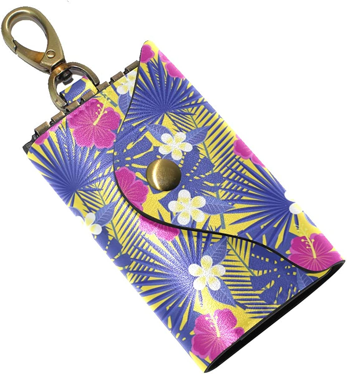 KEAKIA Tropical Leaves And Flowers Leather Key Case Wallets Tri-fold Key Holder Keychains with 6 Hooks 2 Slot Snap Closure for Men Women