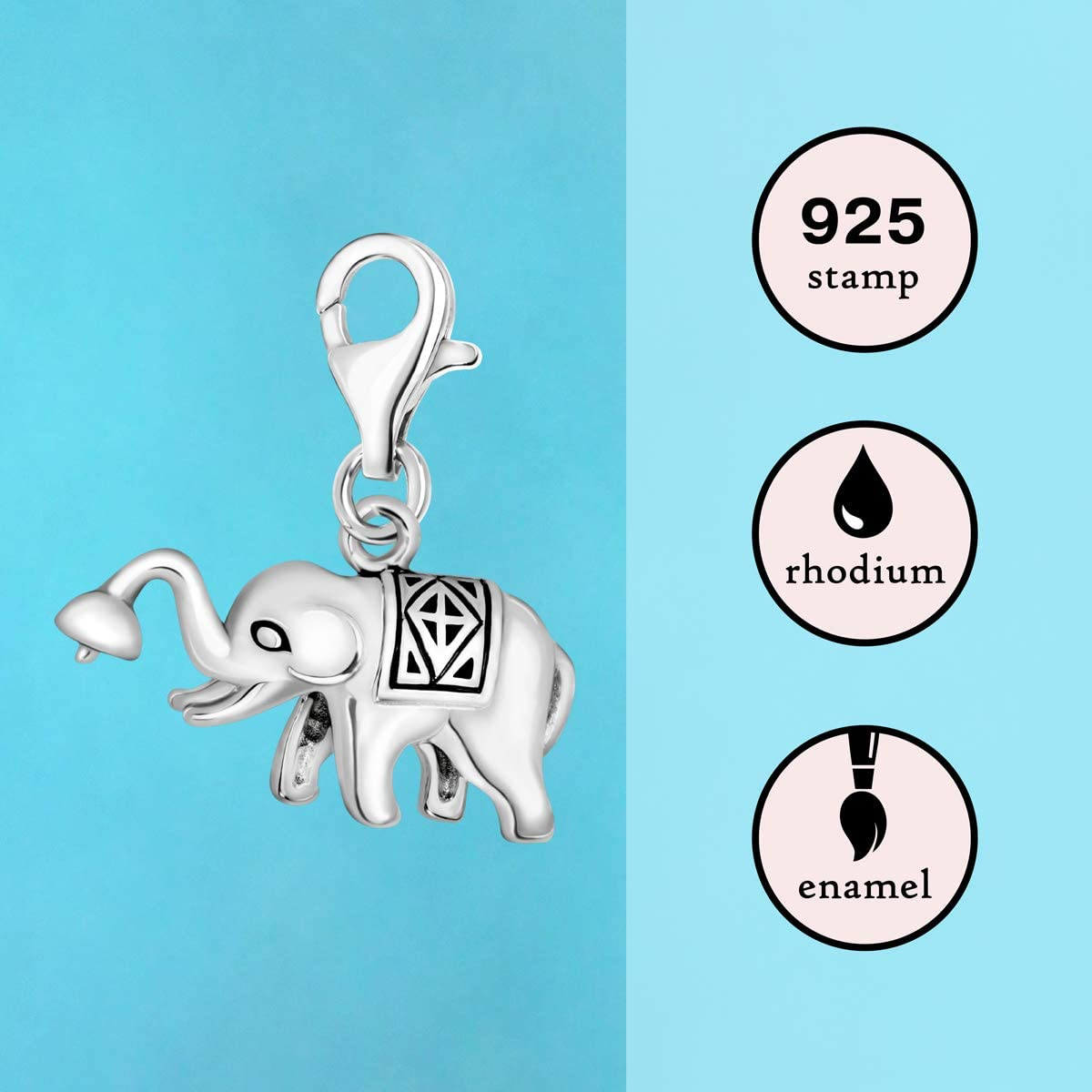 Elephant Charm Silver Clip On Charm Lobster Clasp Animal Gifts Elephant Gifts