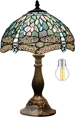 Tiffany Table Lamp W12H18 Inch Tall LED Bulb Included Sea Blue Stained Glass Dragonfly Style Shade Antique Base S147 WERFACTORY Desk Reading Light Livingroom Bedroom Bedside Study Bar Art Crafts Gifts