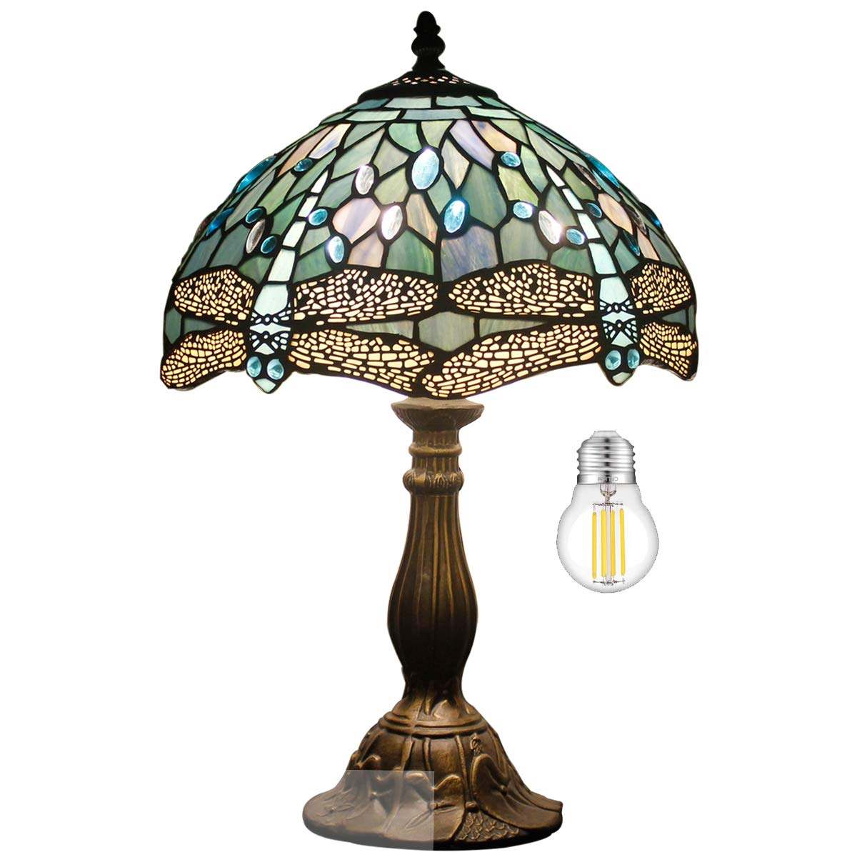 Tiffany Table Lamp W12H18 Inch Tall(LED Bulb Included)Sea Blue Stained Glass Dragonfly Style Shade Antique Base S147 WERFACTORY Desk Reading Light Livingroom Bedroom Bedside Study Bar Art Crafts Gifts