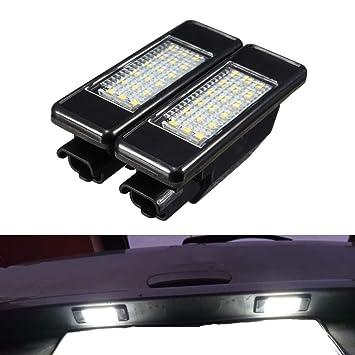 YUGUIYUN Luces de matrícula LED de iluminacion 18 LED Error Free Xenon Blanco Bombilla de Coche ...