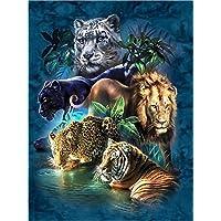 YEESAM ART Nouveau Peinture par numéros pour Adultes Enfants–Animaux de la forêt Tigre Léopard Lion Toile en Lin 40,6x 50,8cm–DIY Digital Kits de Peinture par numéros sur Toile