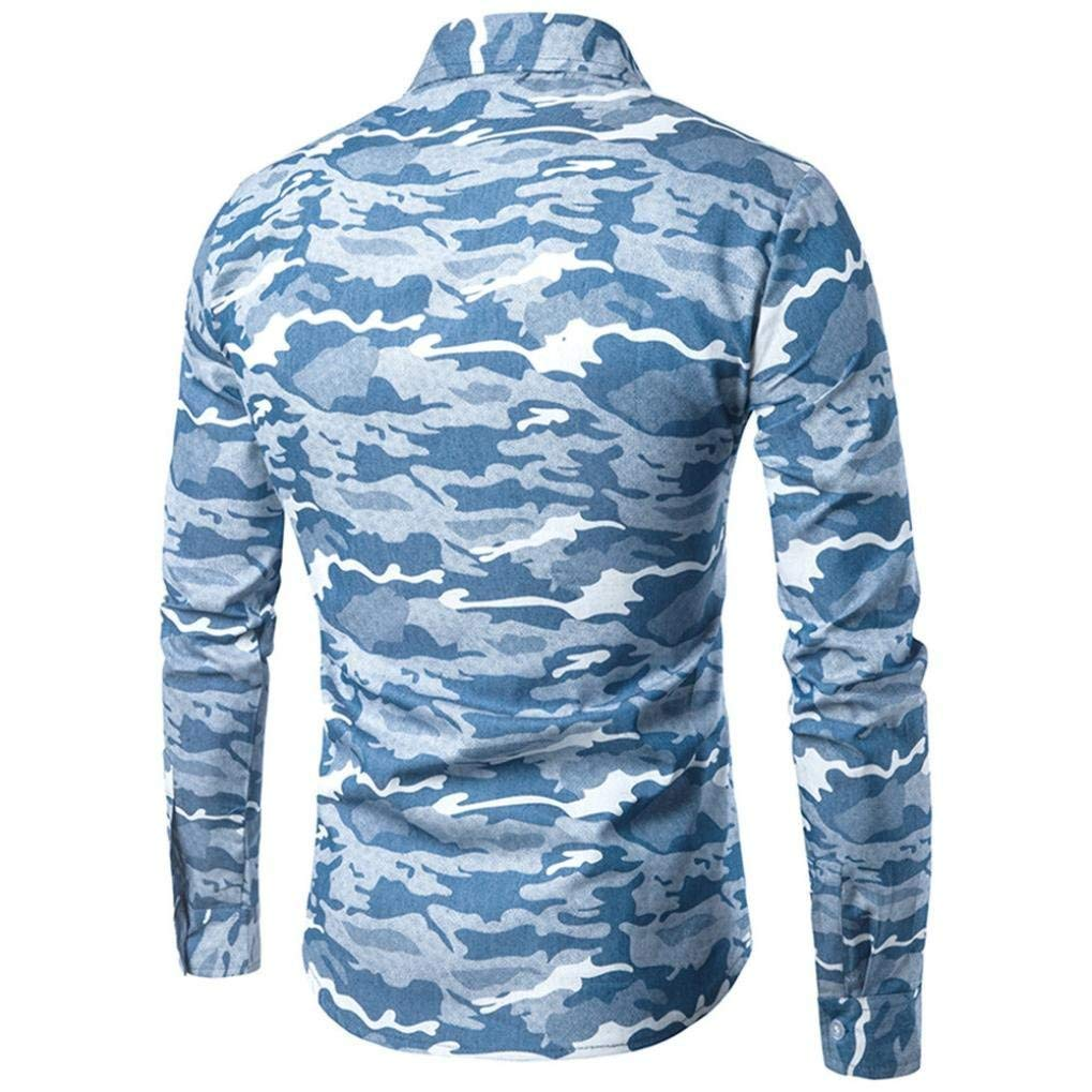maxsoul Mens Shirt Camouflage Long Sleeve Button Down Shirts Slim Fit Casual