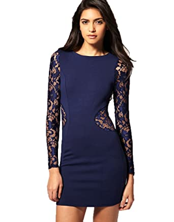 ASOS Lace Insert Bodycon Party Evening Club Date Night Out Dress (UK 14, Navy