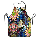 weed chef - ShaVonNa Floral Psychedelic Weed Skull Personalized Apron For Kitchen Baker Baking Restaurant Cooking Chef Crafting Apron Sleeveless