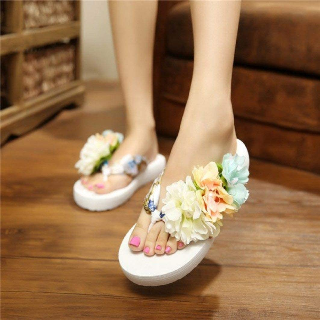 OTOSU Womens Fashion Flat Flip Flops Flowers Rhinestone Casual Outdoor Slip On Sandals Beach Slide Thong