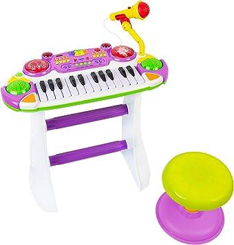 COSMOLINO Piano para niños, eclas con micrófono, Teclado electrónico, Instrumento Musical electrónico con micrófono y Taburete, para bebés y niños ...