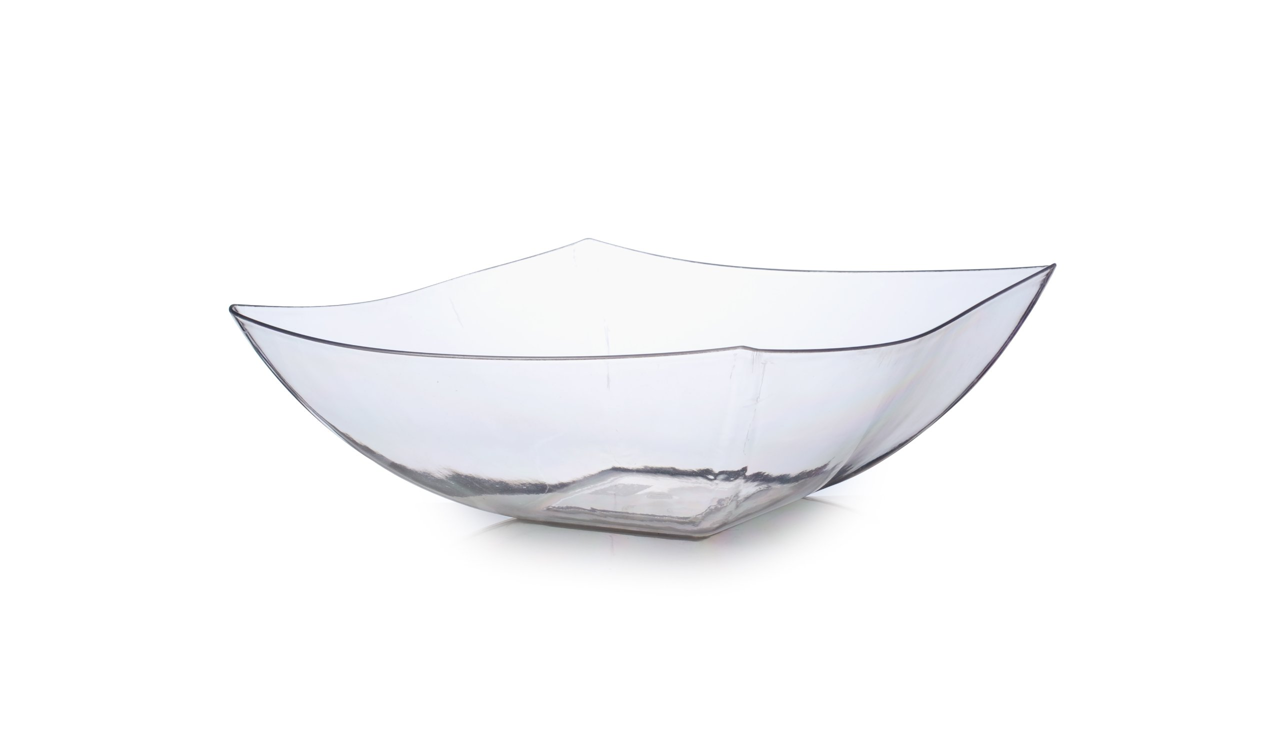 Fineline Settings Wavetrends Clear China-Like Square 32 oz. Serving Bowl  50 Pieces