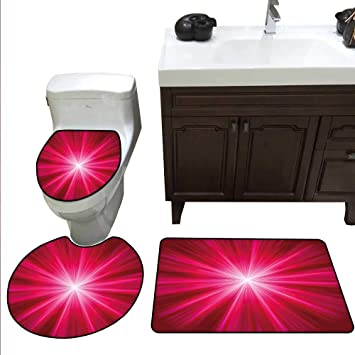 Merveilleux Hot Pink Bath Mat And Toilet Mat Set Abstract Image Lively Burst Rays  Sunbeams Inspired Futuristic