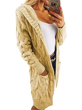 Ganz und zu Extrem Lsecret Damen Strickjacke Pullover Pulli Cardigan Kapuze Taschen @XU_06