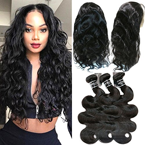 BQ HAIR 8A 360 Lace Frontal with Bundles Brazilian Body Wave Virgin Human Hair -2 Bundles with 360 Lace Frontal Closure Pre Plucked -Can Be Used to Make Bob Wigs (10