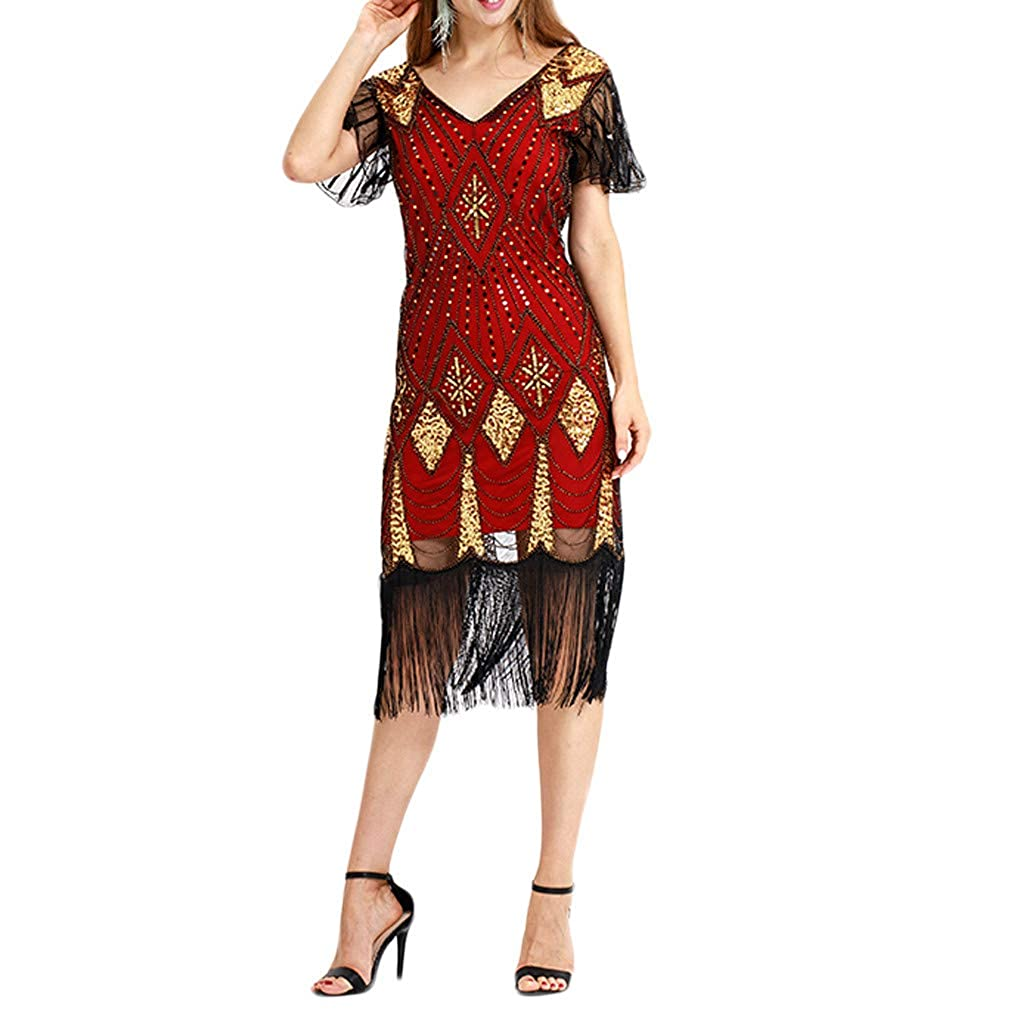 1920s Flapper Dress Long Fringed Gatsby Dress Roaring 20s Sequins Beaded Dress Vintage Art Deco Dress