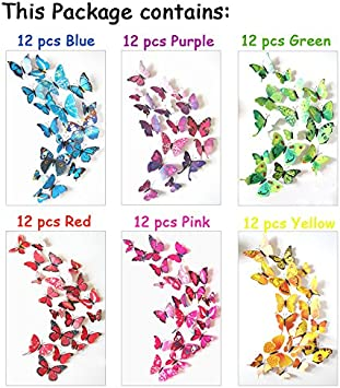 ElecMotive/® 72 Pcs 6 Packs Beautiful 3D Butterfly Wall Decals Removable DIY Home Decorations Art Decor Wall Stickers /& Murals for Babys Bedroom TV Background Living Room 72 pcs in 6 Colors