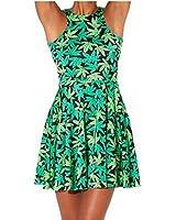 Neon Nation Green Weed Marijuana Print Pleated Short Dress