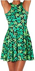 45b19ed7bc3cc8 NeonNation Neon Nation Green Weed Marijuana Print Pleated Short Dress