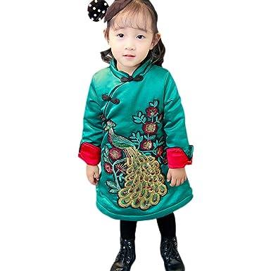 KINDOYO Abrigo de Invierno para Niñas Bebés - Tradicional Chino ...