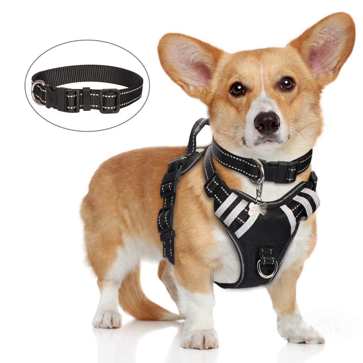 WINSEE Dog Harness No Pull, Pet Harnesses with Dog Collar, Adjustable Reflective Oxford Outdoor Vest, Front/Back Leash…