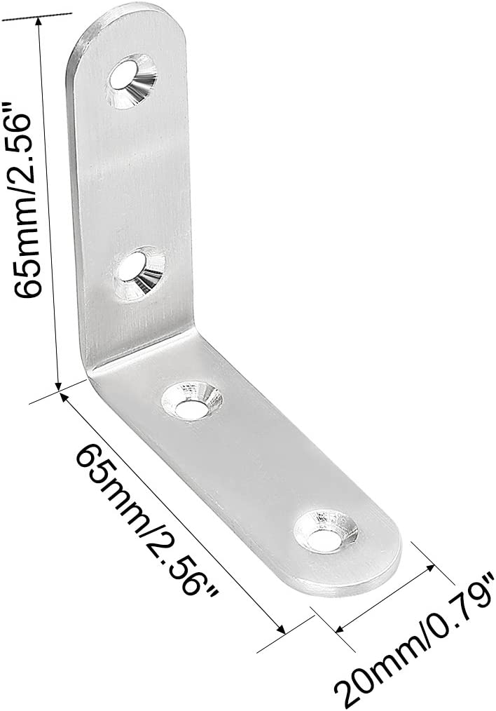 sourcing map 2pcs 65mmx65mmx20mm Edelstahl Korne Klammer Steckdose L Form Halter Fastener DE de