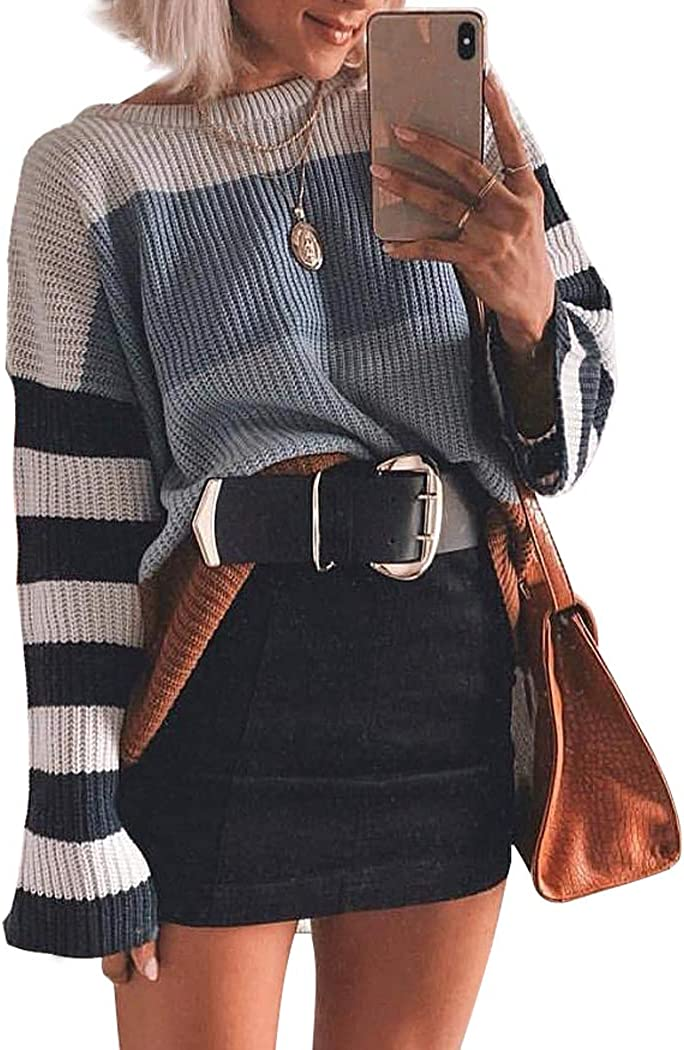 Rainbow Milk Women Sweater Long Sleeve Crew Neck Color Block Striped Oversized Casual Knit Pullover Tops