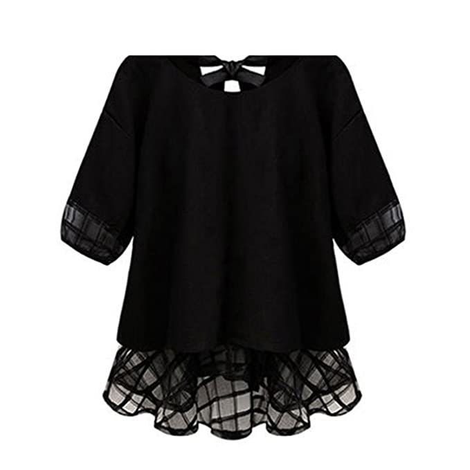 Chiffon Blouse Femme Shirt Women Tops Summer Lace Patchwork Short Sleeve Top Black M