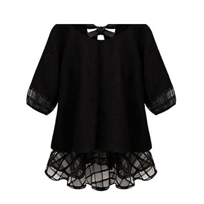 Chiffon Blouse Femme Shirt Women Tops Summer Lace Patchwork Short Sleeve Top Black M
