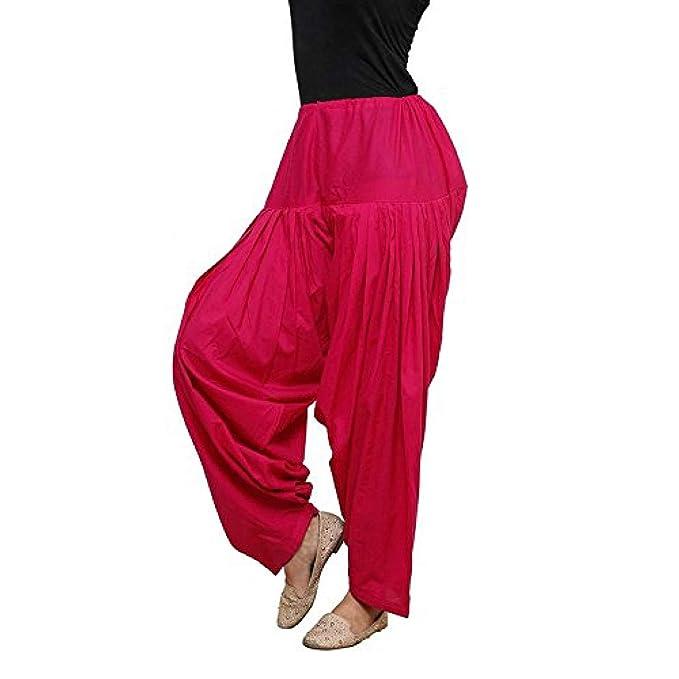 6638175f5 TheCraftCompany Pantalón de algodón de Color Rosa sin Mangas de Las Mujeres  Indias de Patiala Salwar Harem Yoga Vestido de tamaño Libre para Mujeres y  ...