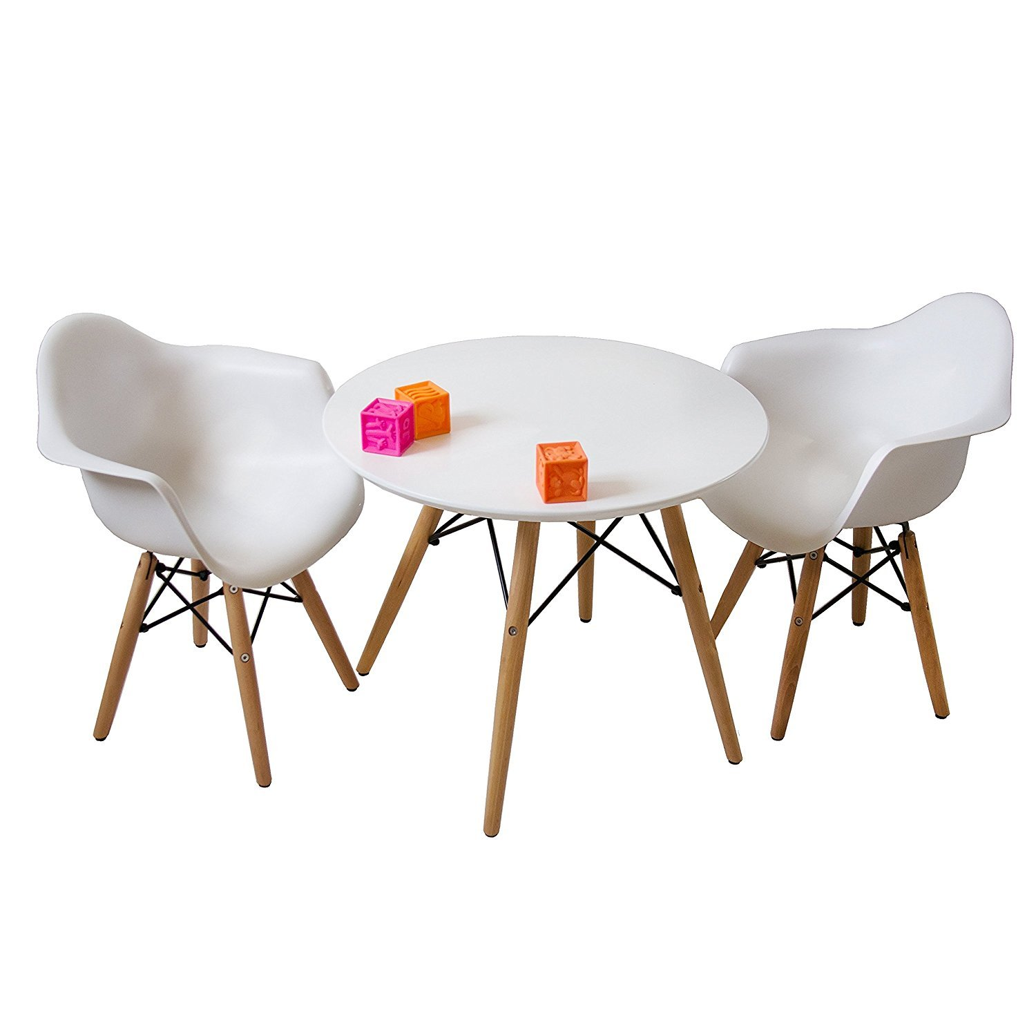 buschman set of white eames style kids dining room mid