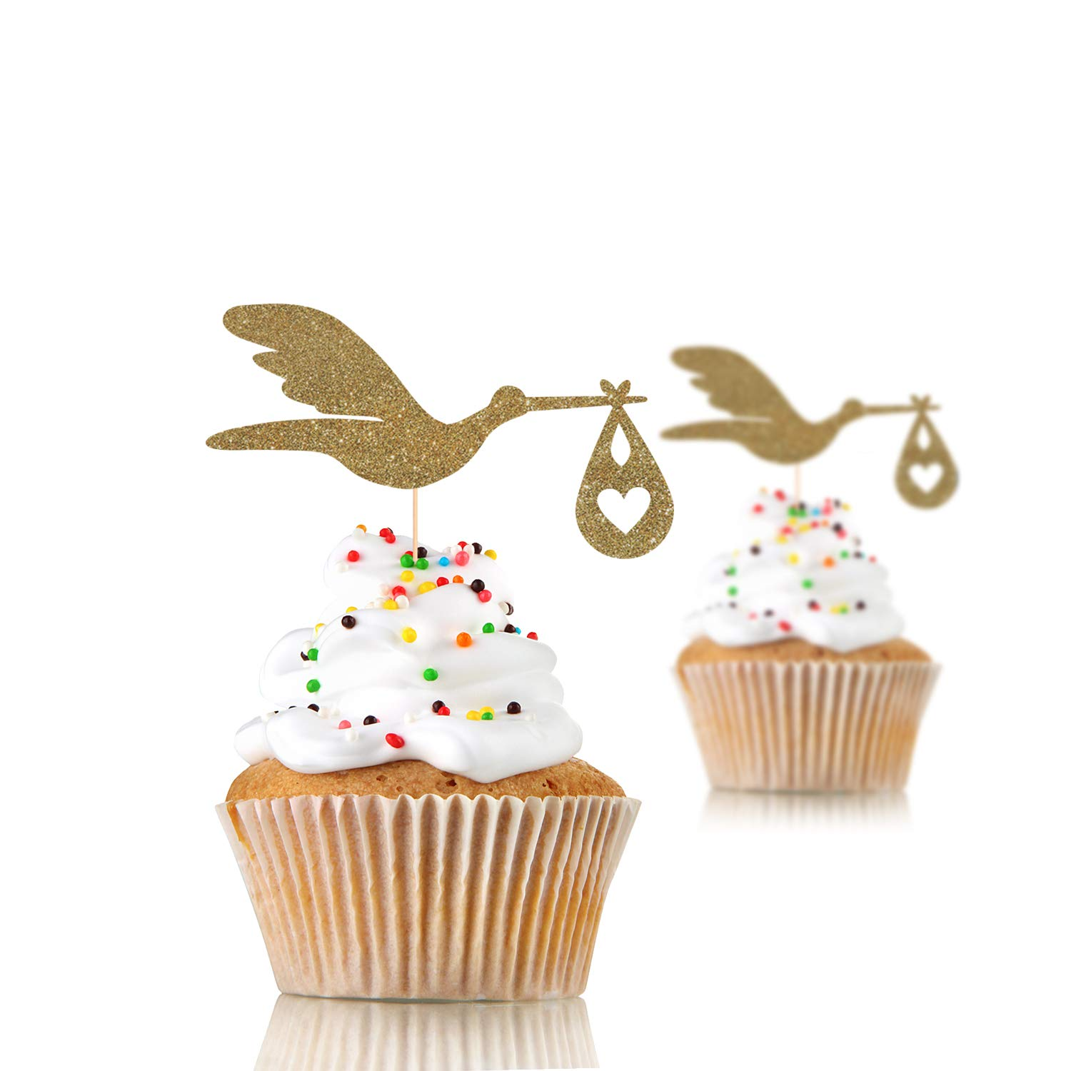 12 x Stork cupcake topper, welcome baby, baby shower, baby girl, baby boy, 12 rose gold glitter cupcake topper,new baby party decor