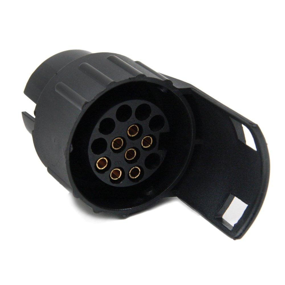 SmartSpech Adaptador de Enchufe convertidor de Remolque Negro de 7 a 13 Pines para Cable de Remolque 12 N