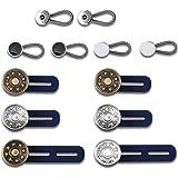 12 Pack Expander Button, 6 Pcs Pants Waist Silicone Extender Button for Men and Women, 6 Pcs Metal Collar Extenders/Neck Exte