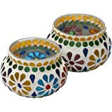 SouvNear Set of 2 Tealight Candle Holder - Handmade Mosaic Glass Votive Candle Holders - Colorful Centerpiece Tea Light Holders - New Gift Ideas for Home Decorations