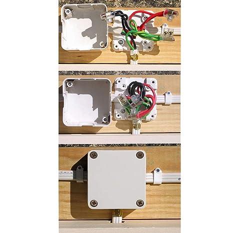 Material ABS Retardante de Llama Cuadrado para Exteriores GLOGLOW 1 Caja de Derivaci/ón Impermeable Caja de pl/ástico de cableado El/éctrico