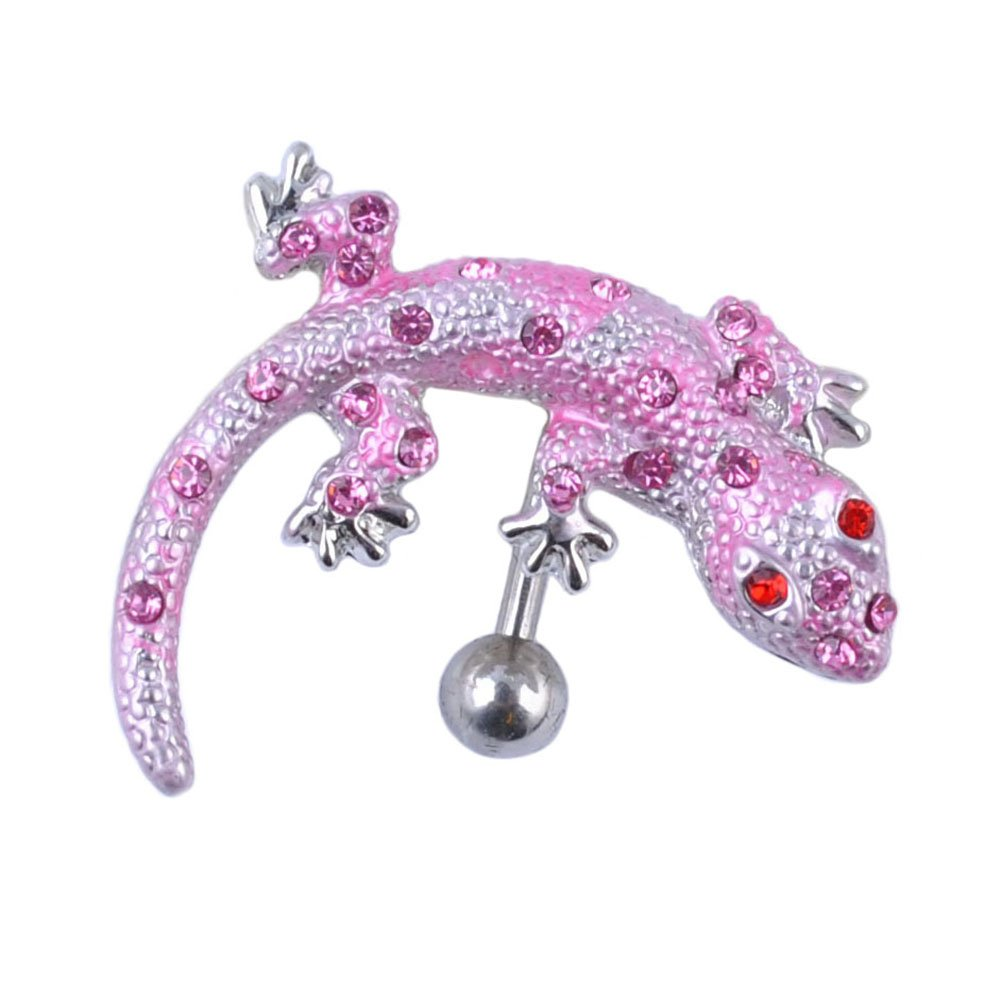 Oasis Plus Pink Crystal Lizard 14G Reverse Navel Barbell Belly Button Ring Body Piercing Jewelry