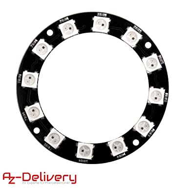AZDelivery LED Ring 12-Bit RGB WS2812B 5V 50mm for Arduino including eBook