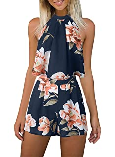 4d5cb0cf17b Women s Floral Printed Summer Dress Romper Boho Playsuit Jumpsuits Beach 2  Piece Outfits Top with Shorts