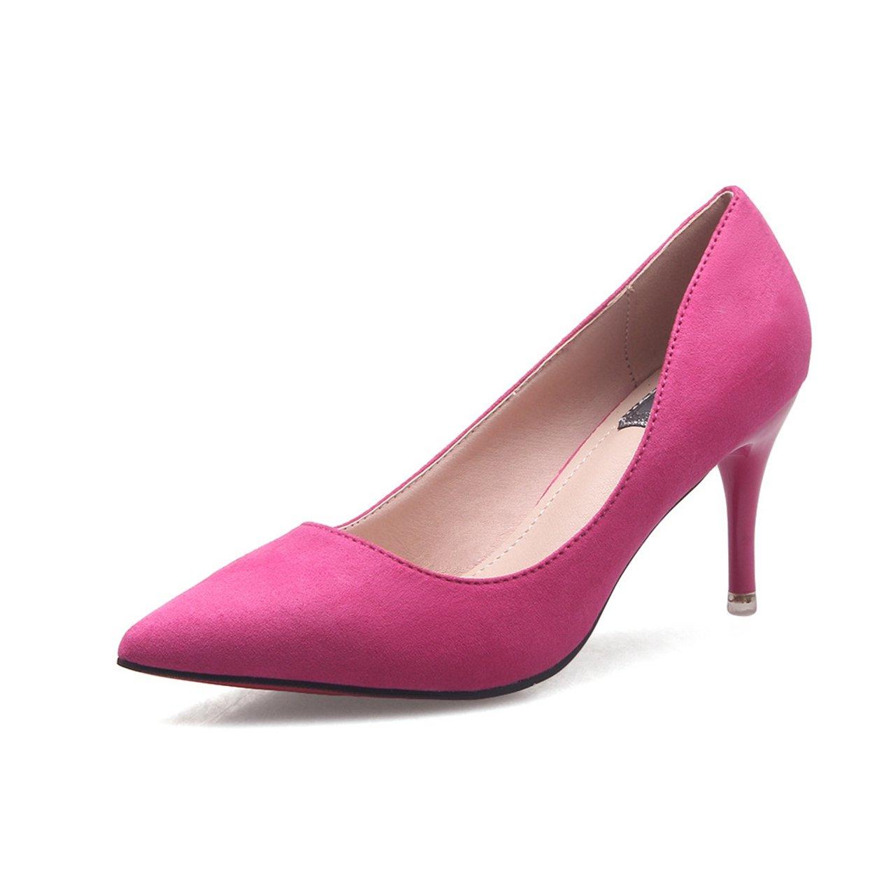 Unbekannt Damen Pumps Elegant Spitz Zehen Atmungsaktives Schuhe Nubukleder Rutschfest Modische OL Schuhe Atmungsaktives Brautschuhe Rosarot 37 EU 434a13