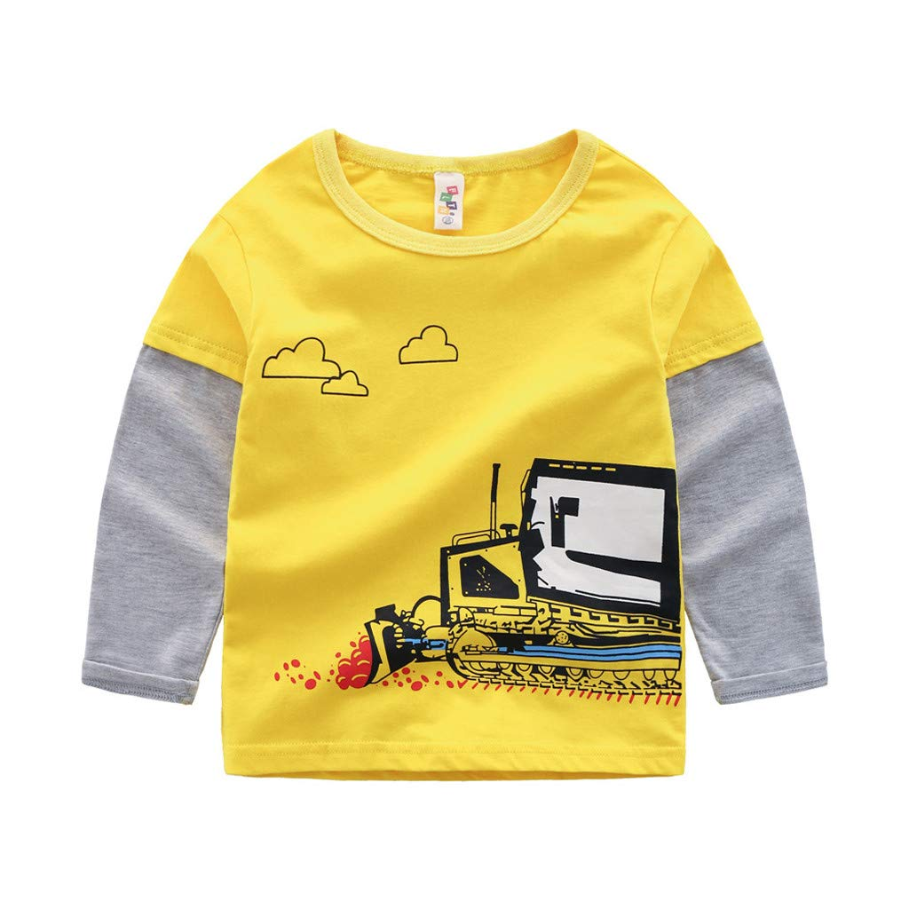 Rolayllove Top Children Kid Baby Girl Boy Long Sleeve Cartoon Tops Shirts Tee Casual Clothes