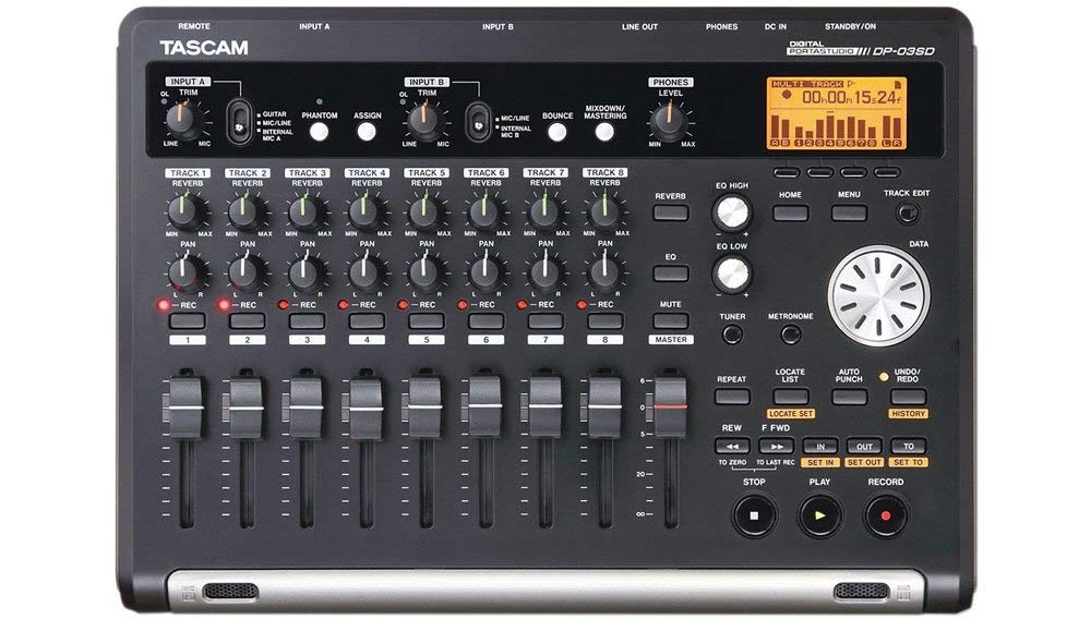 Tascam DP-03SD Digital Portastudio 8-Track Recorder includes Free Wireless Earbuds Stereo Bluetooth In-ear and 1 Year Everything Music Extended Warranty