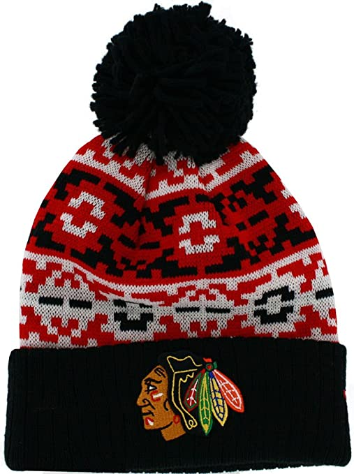 finest selection c23d9 f2df7 Image Unavailable. Image not available for. Color  Chicago Blackhawks New  Era Retro Chill Cuffed Pom Knit Beanie ...