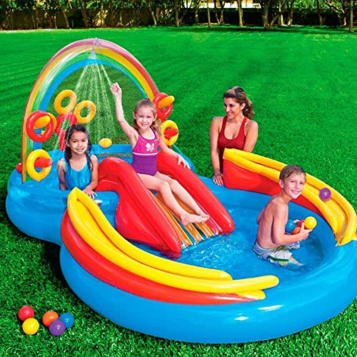 DSFGHE Rainbow Ring Play Centre,Inflatable Float Swim Boat ,Paddling Pool with Moveable Arch Water Spray.Activity Centre for Outdoor Summer Fun! by DSFGHE (Image #2)