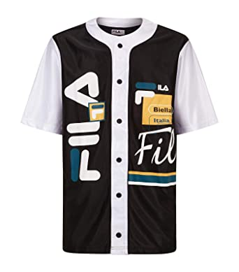 0c8f2cf175a8 Fila Men's Brantley Baseball Shirt Black/White / Atlantic Deep M