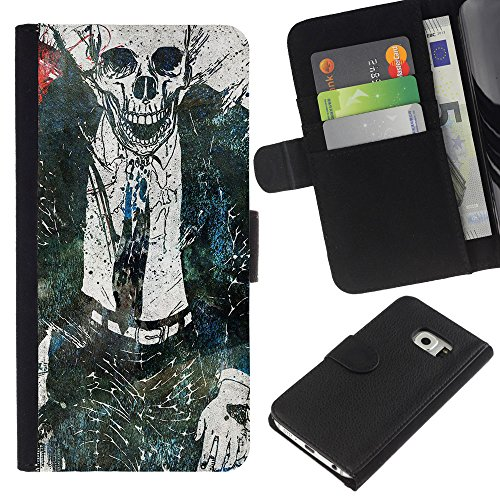 Graphic4You Dead Man Walking Zombie Design Thin Wallet Card Holder Leather Case Cover for Samsung Galaxy S6 Edge