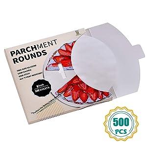 Katbite Parchment Paper Rounds - 500, 9 Inch, 6''8''10''12'' Parchment Rounds for Cake Baking, Air Fryer