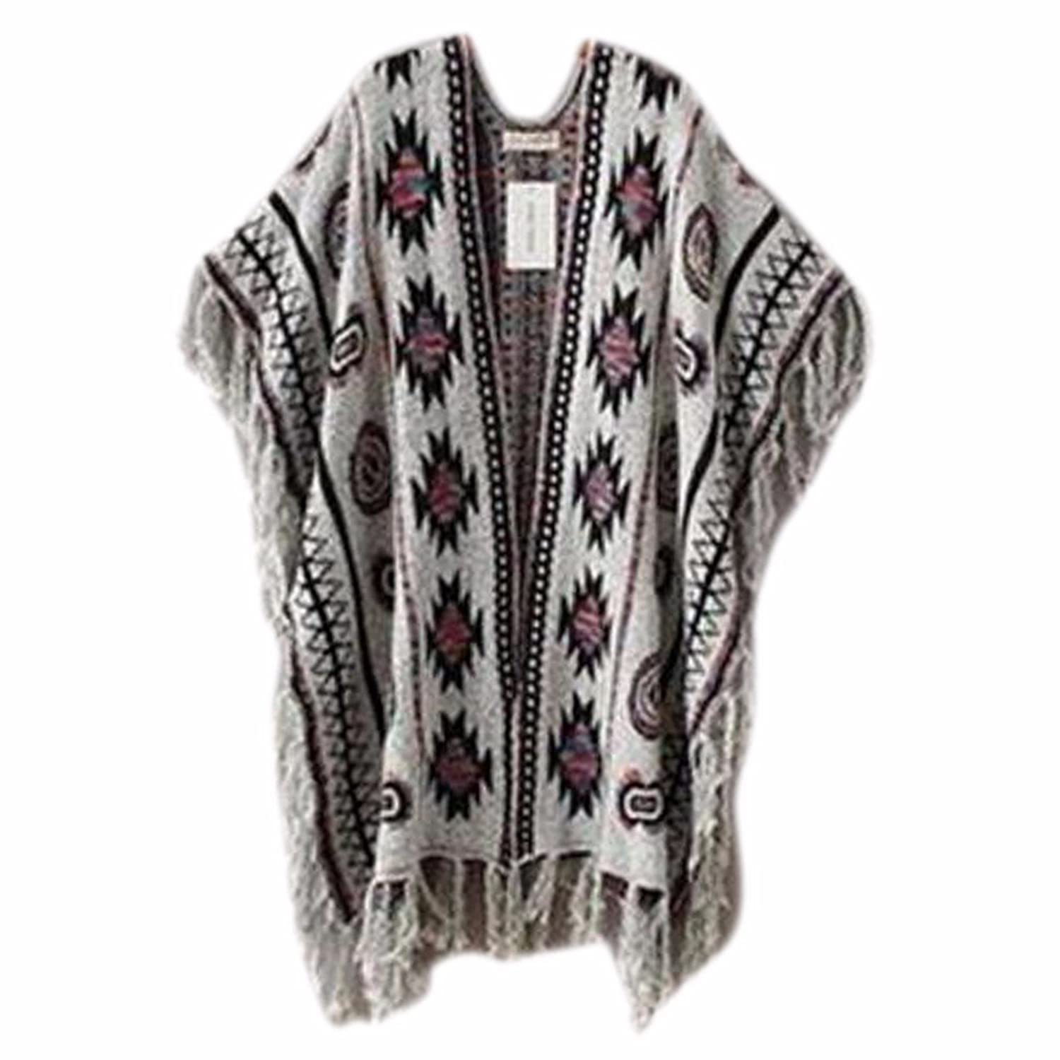 QIYUN.Z Women's Vintage Style Open Front Cardigans Ladies Shawl with Tassel