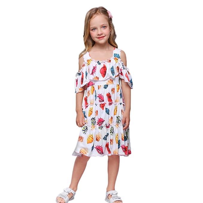 ONEFENG Niñas Vestido de Verano sin Mangas de Impresión Casual Vestido Corto Casual Elegante Boda Playa